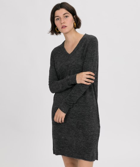 VILA Vivikka V-Neck Kleid dark grey mela