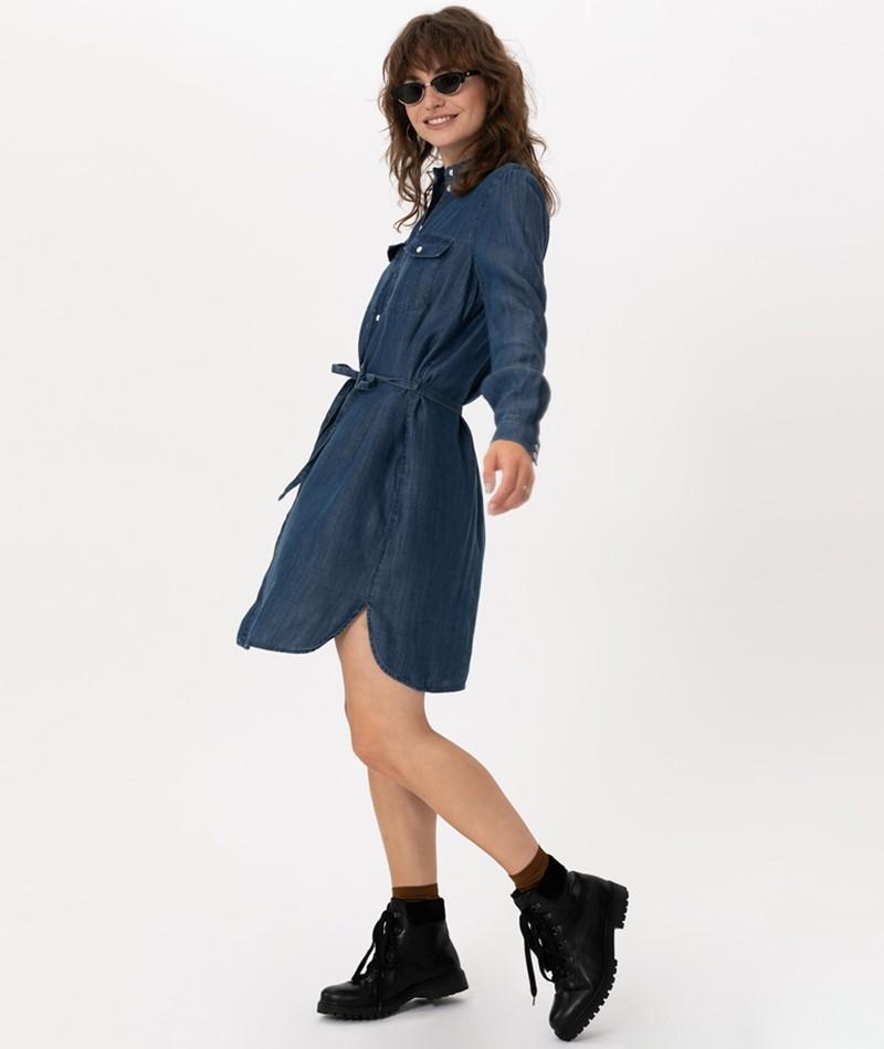 VILA Visuster Shirt Kleid dark blue deni