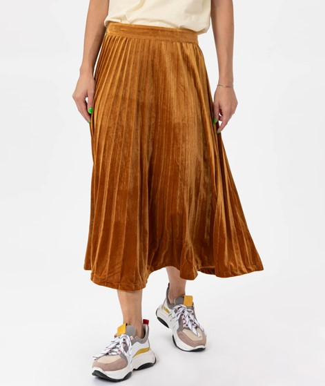 JUST FEMALE Clara Velvet Skirt Pumpkin