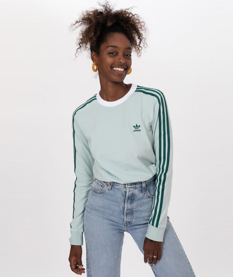 ADIDAS 3 STR LS TEE T Shirt vapour green 54308