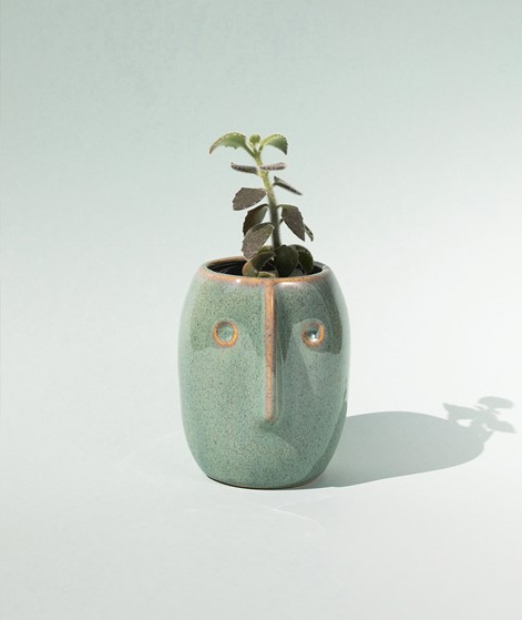 MADAM STOLTZ Flower pot w/face green