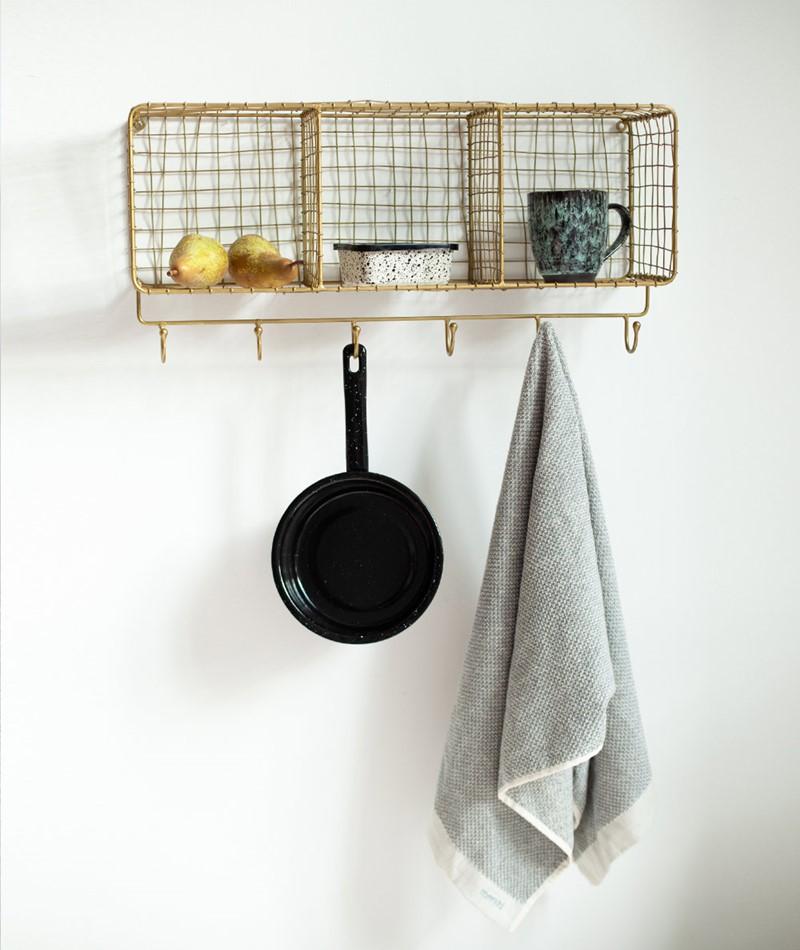 MADAM STOLTZ Haning Shelf w/ Hooks