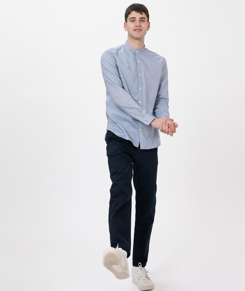 NOWADAYS Grandad Oxford Hemd blue