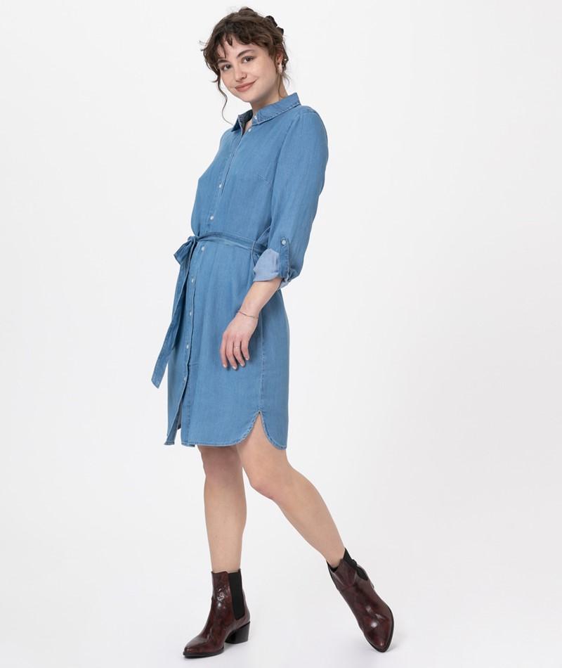 VILA Vibista Belt Denim Kleid blue denim