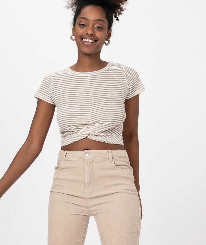 MINKPINK Twist T-Shirt khaki/ white