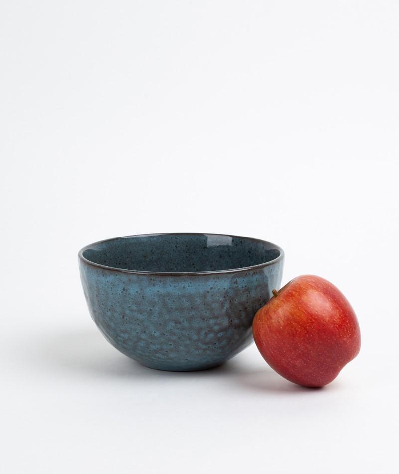 MADAM STOLTZ Stoneware Bowl blue/brown