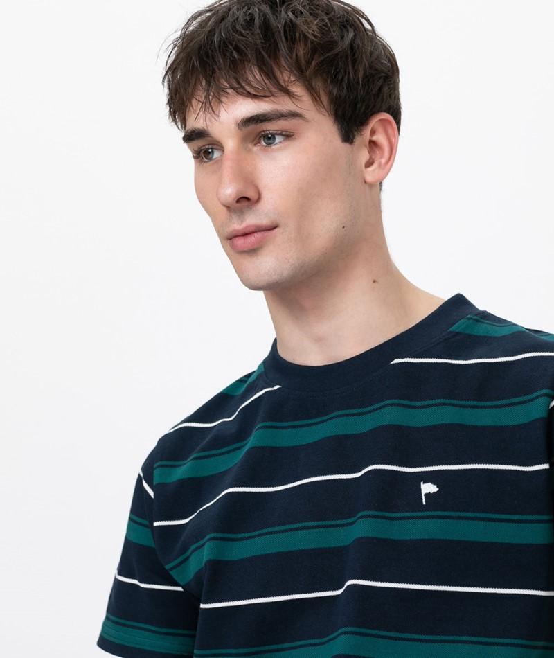 WEMOTO Arthur Stripe T-Shirt navy blue