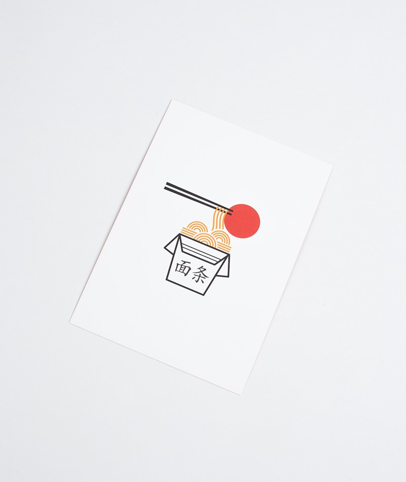 KAUF DICH GLÜCKLICH Postkarte Noodle Box