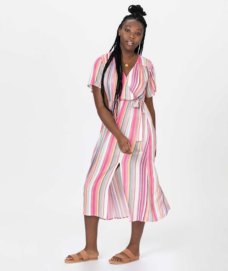 MINKPINK Kita Stripe Midi Kleid