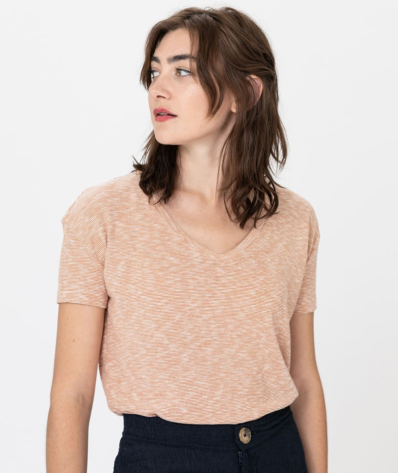 KAUF DICH GLÜCKLICH T-Shirt apricot