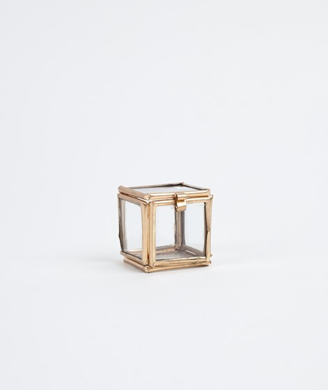 MADAM STOLTZ Quadratic Glass Box gold