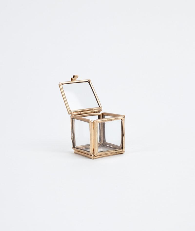 MADAM STOLTZ Quadratic Glass Box gold