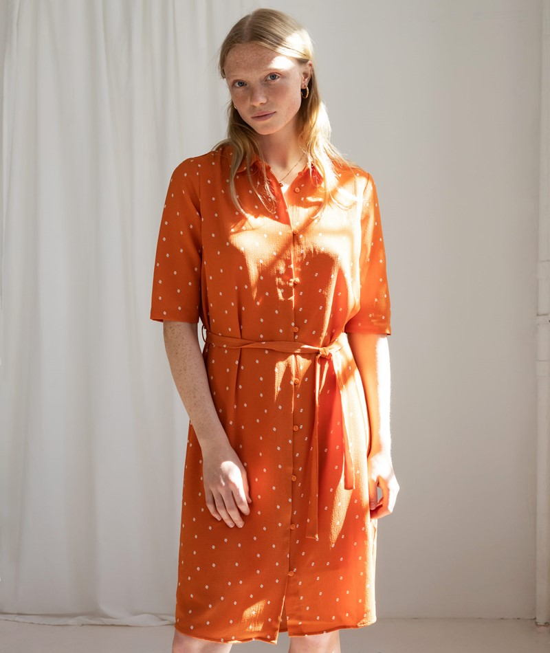 ANOTHER LABEL Peck Kleid apricot dots