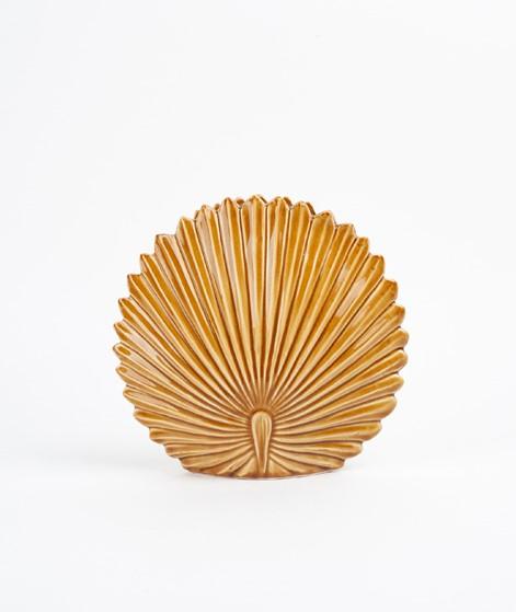 MADAM STOLTZ Stoneware Leaf Vase mustard