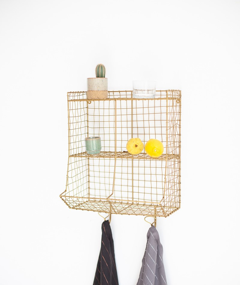 MADAM STOLTZ Wire rack w/ hooks