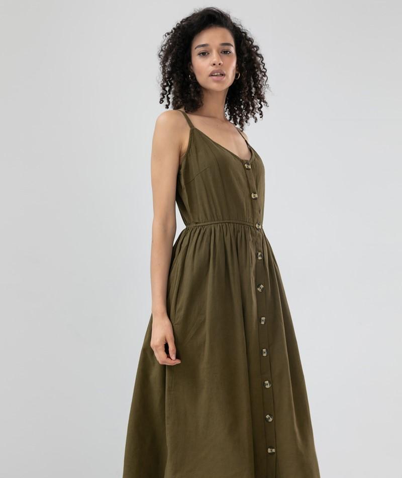 VILA VICottanpalmea Midi Kleid olive
