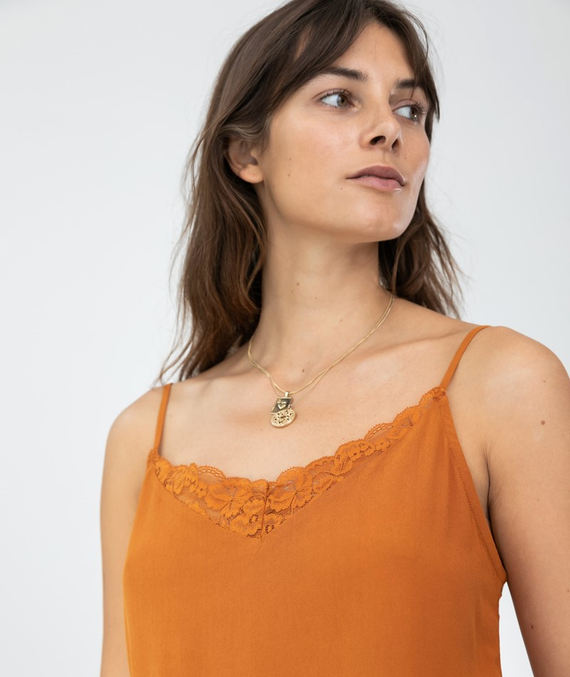 VILA VIMero Lace Singlet Top spice