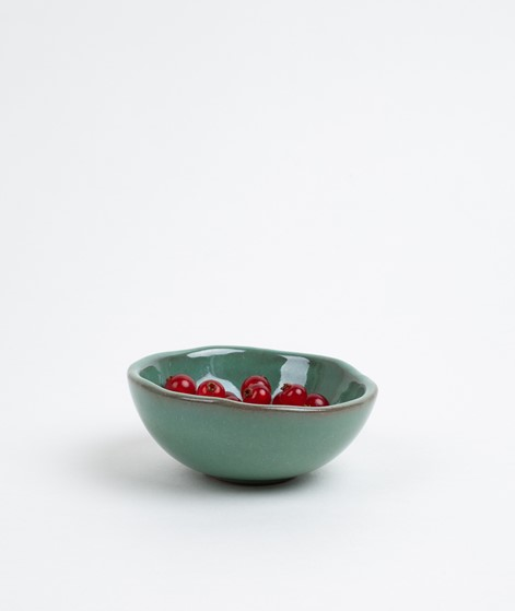 MADAM STOLTZ Small Stoneware Bowl green