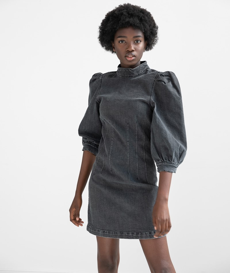 GLOBAL FUNK Shelly Kleid black denim