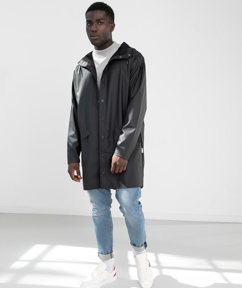 RAINS Long Jacket schwarz