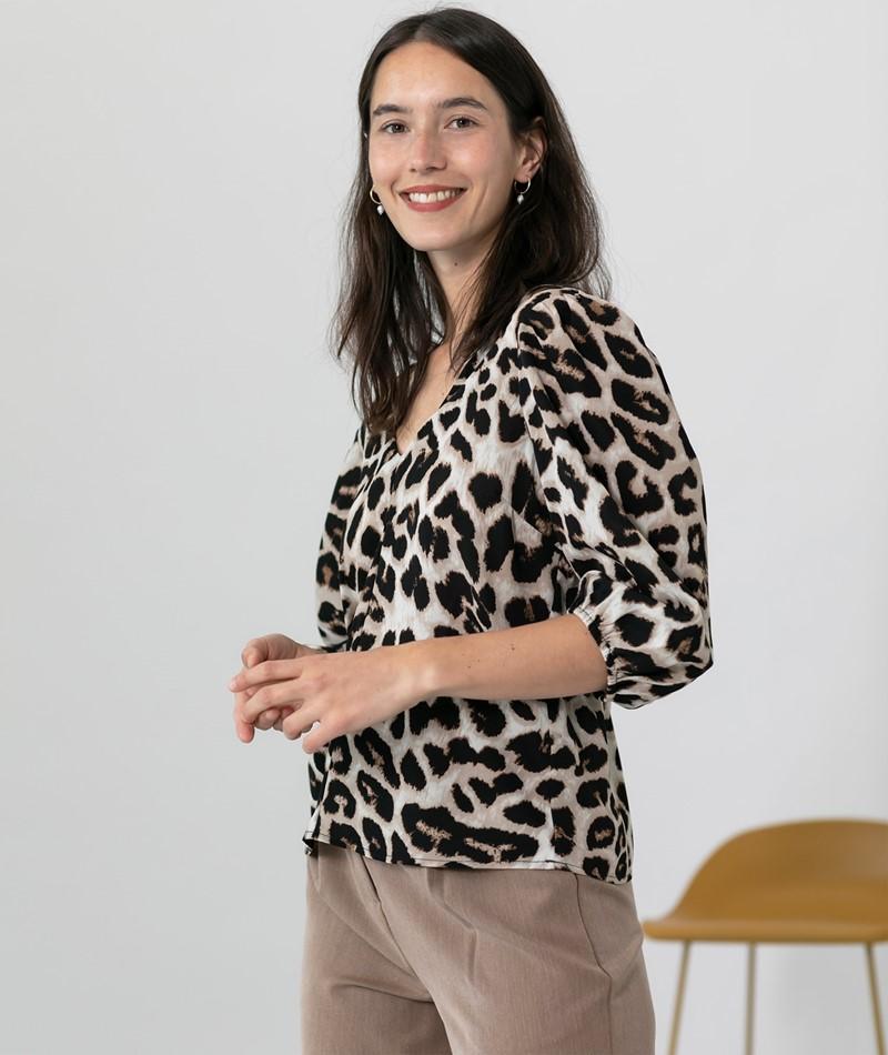 NEO NOIR Sila Big Leo Bluse Leopard