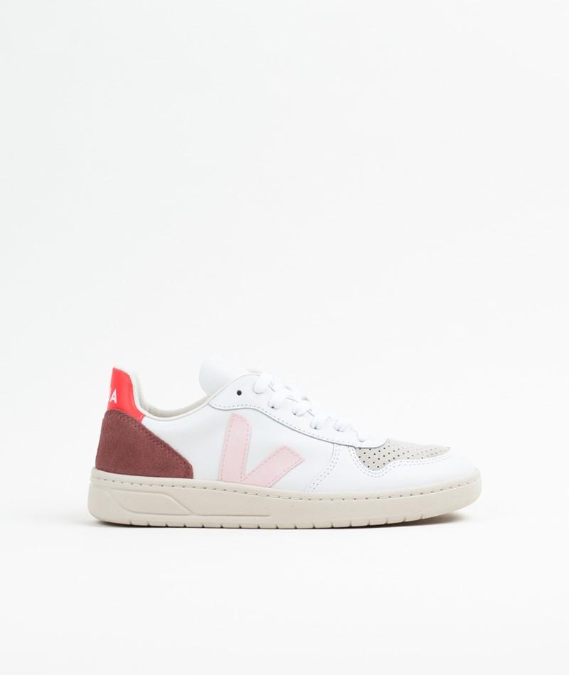 VEJA V-10 Leather Sneaker weiß rose-fluo