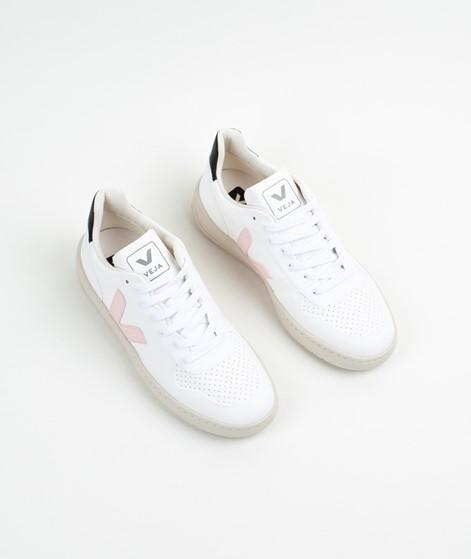 VEJA V-10 Leather Sneaker weiß rosa