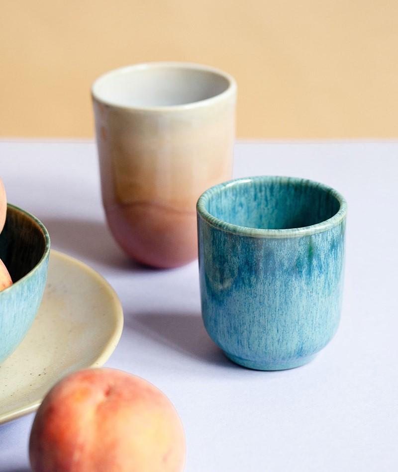 KAUF DICH GLÜCKLICH Keramikbecher blau