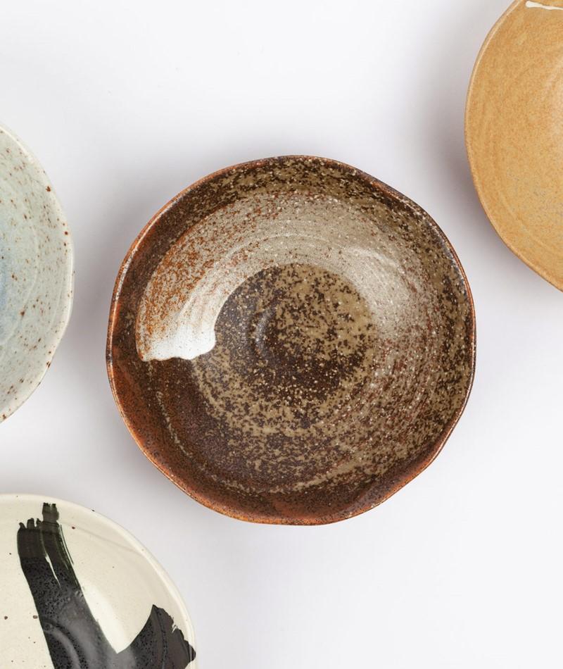 HKLIVING Japanese Shallow Bowl braun