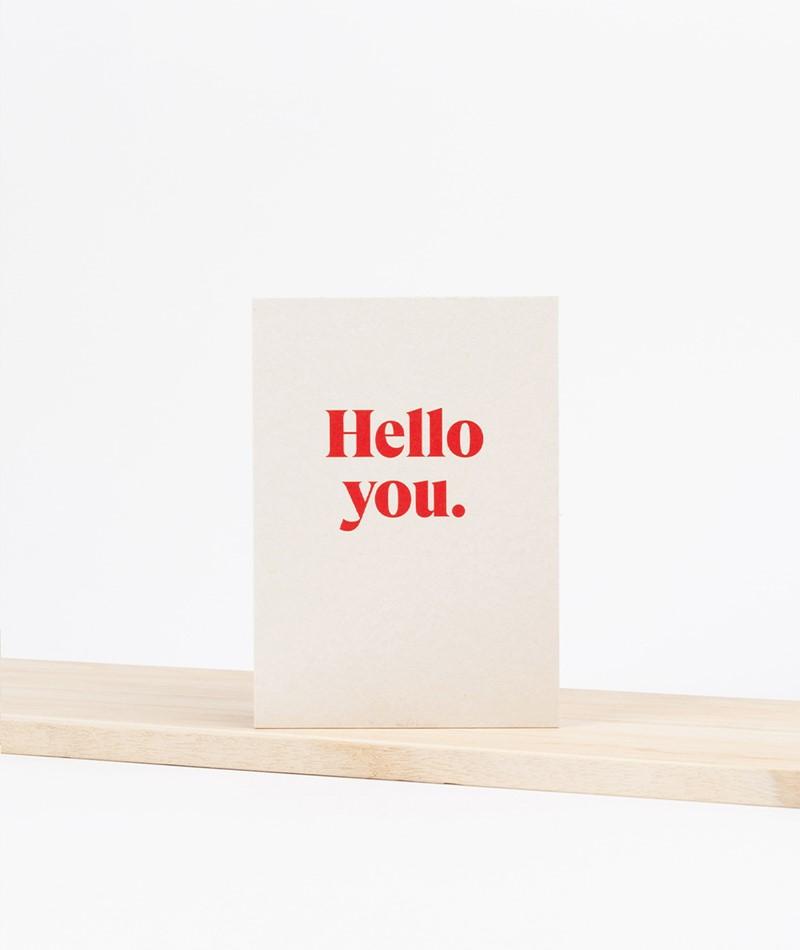 KAUF DICH GLÜCKLICH Postkarte hello you