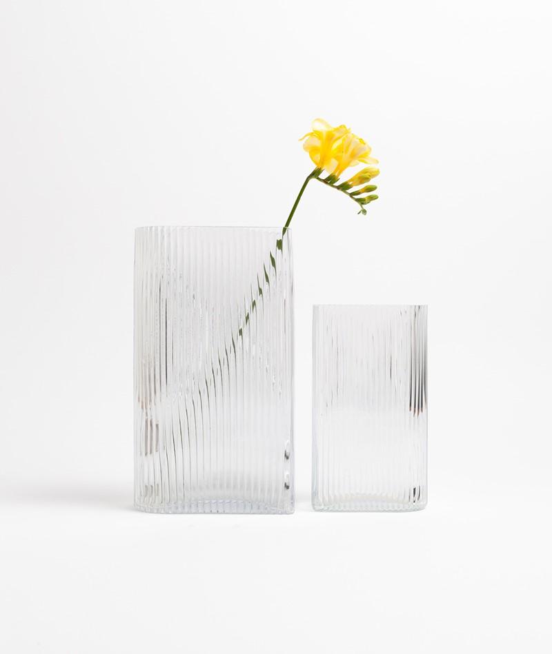 HKLIVING Clear Ribbed Vase