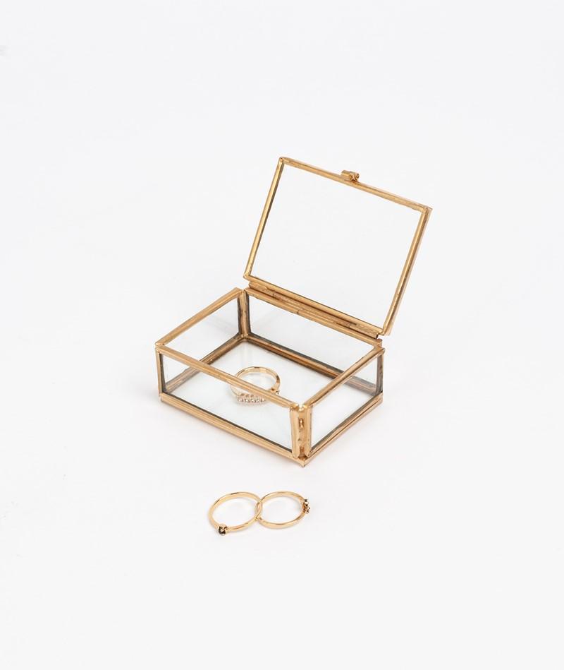 MADAM STOLTZ Rectangular Glas Box gold