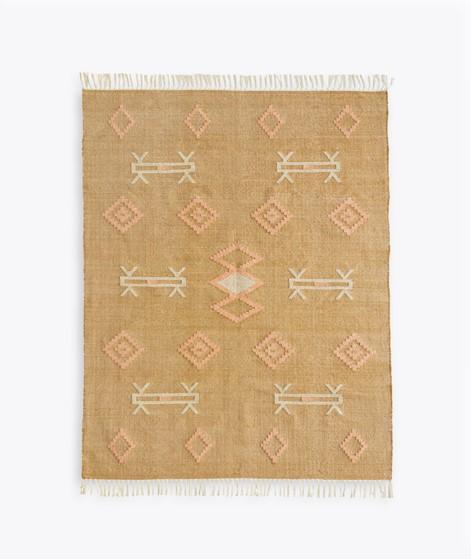 MADAM STOLTZ Handgewebter Teppich braun