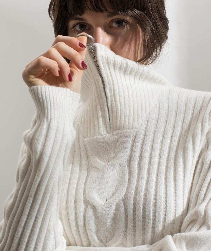 VILA VIRil Zip Neck Pullover weiß