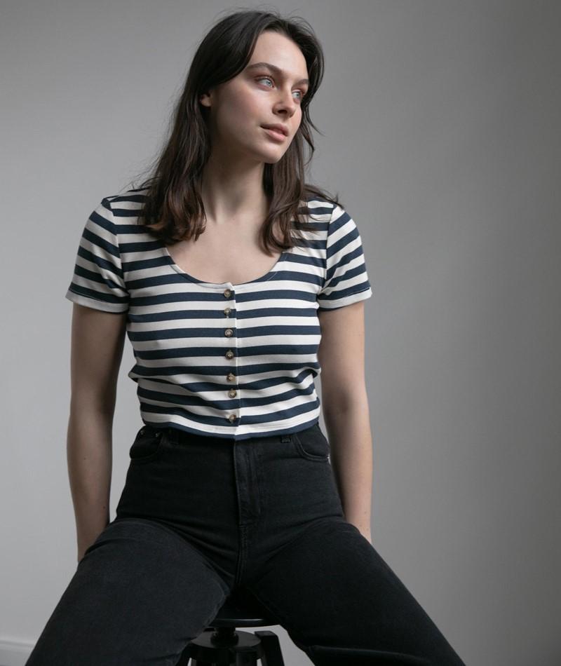NATIVE YOUTH Paula Crop T-Shirt gestreif