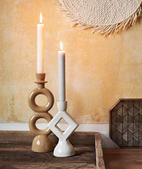 MADAM STOLTZ Stoneware Kerzenhalter gelb