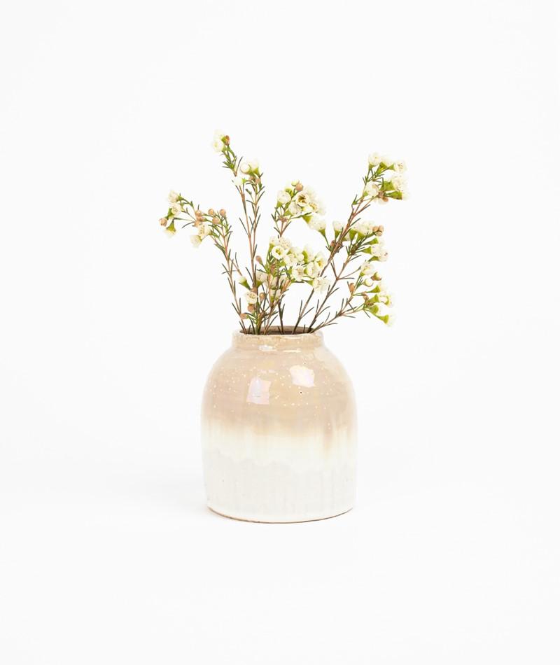 MADAM STOLTZ Stoneware Vase beige