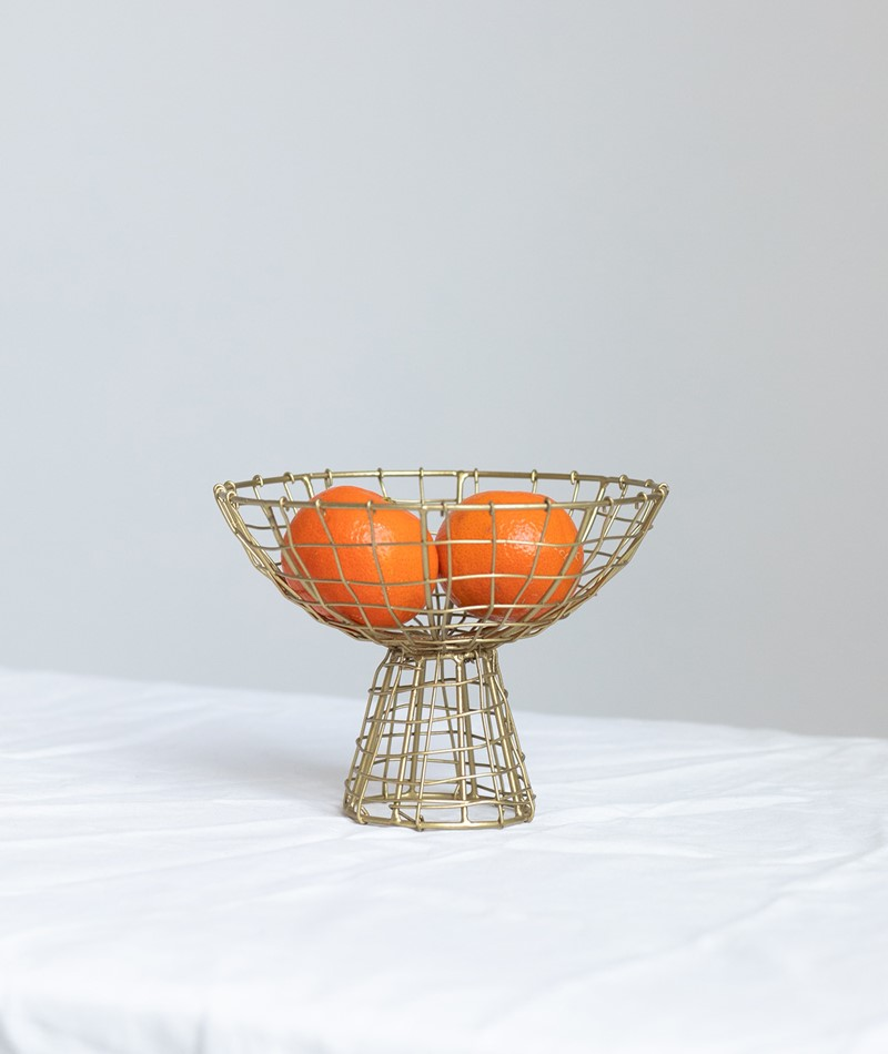 MADAM STOLTZ Iron Basket w/ Stand gold