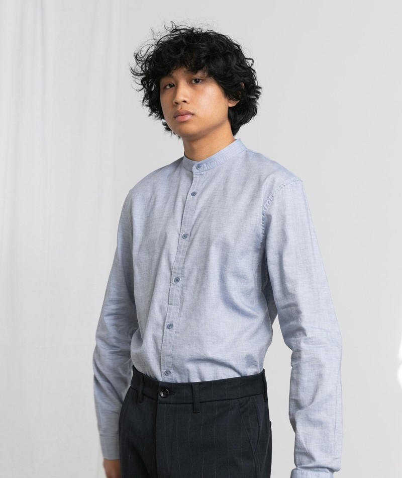 NOWADAYS Oxford Melange Hemd blau