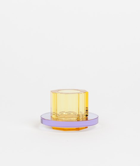 HÜBSCH Kerzenständer Glas bernstein