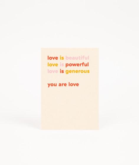 KAUF DICH GLÜCKLICH Postkarte love is