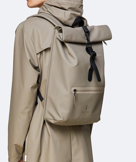 RAINS Roll Top Rucksack beige
