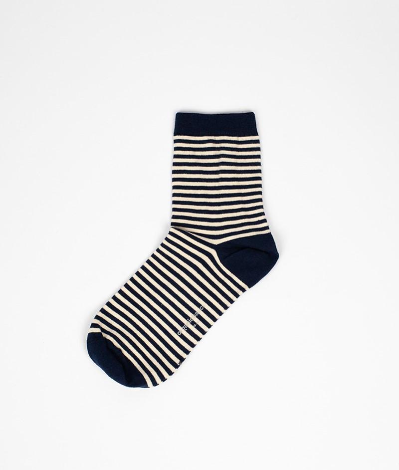 ORGANIC BASICS Color Stiped Socken blau