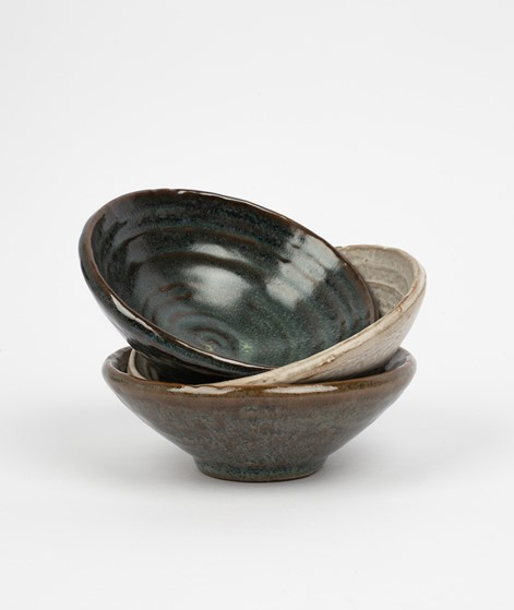 MADAM STOLTZ Stoneware Bowl dunkel grün