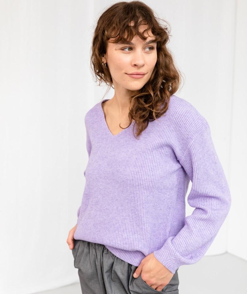 VILA VIRil Deep V-Neck Pullover lila
